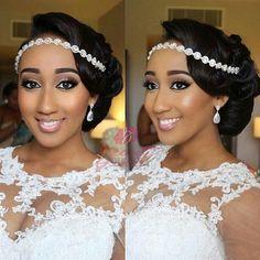 Amazing Wedding Makeup Tips – Makeup Design Ideas African Wedding Hairstyles, Wedding Hairstyles For Long Hair, Bride Hairstyles, Black Brides Hairstyles, Hairstyle Ideas, Hair Ideas, Bridal Hair Buns, Wedding Hair And Makeup, Black Bridal Makeup