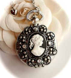 Victorian Lady Cameo Pocket Watch Necklace. by LadyAgathaBoutique