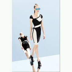 6e1c12edeaa28 Herve Leger Asymmetric Jewel Neck White Black Dress  http   www.legerdresssale.