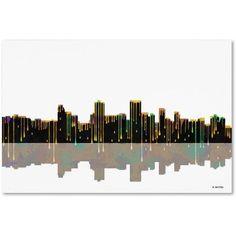 Trademark Fine Art Anchorage Alaska Skyline 2 inch Canvas Art by Marlene Watson, Size: 12 x 19, Multicolor