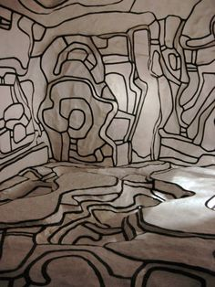 Jean Dubuffet, Le Jardin d'Hiver. An installation that invites viewers to experience an altered state of mind, each surface is at different levels with the outline creating a matrix of un-definable surfaces tricking your mind to think it is something it's not.