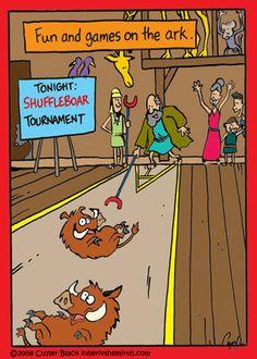 "ShuffleBoar Tournament on the ark. - ""Inherit the Mirth"" by Cuyler Black; Christian Comics, Christian Cartoons, Christian Jokes, Haha Funny, Funny Memes, Hilarious, Bible Cartoon, Religion Humor, Jw Humor"