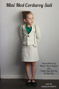Mini Mod Corduroy Suit: Girls Bundle Up Blog Tour - Mabey She Made It