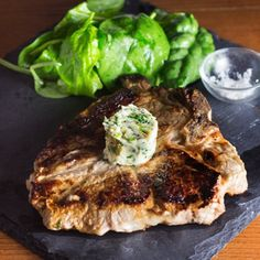 Steak with Herb and Anchovy Butter. Bring your steak to the next level with an easy herb and anchovy butter. #beef #recipes Anchovy Recipes, Dumpling, Beef Recipes, Barbecue, Steak, Butter, Herbs, Dining, Easy