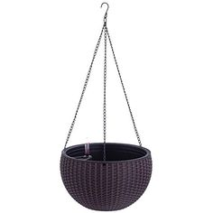 Watering Honey Elegant Self Watering Hanging Flower Plant Pot Chain Basket Planter Holder with Water level gaugeBrown -- You can get additional details at the image link-affiliate link. Basket Planters, Hanging Planters, Self Watering, College Dorm Rooms, Small Apartments, Potted Plants, Outdoor Gardens, Planting Flowers, Elegant