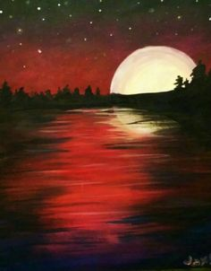 Moon Over a Wooded Lake Tuesday, February - Bilder - Painting Love Easy Paintings, Landscape Paintings, Simple Acrylic Paintings, Oil Paintings, Painting & Drawing, Watercolor Paintings, Lake Painting, Moon Painting, Canvas Painting Nature