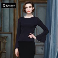 QUEENTOR 2017 original brand high-end autumn and winter flare sleeve slim navy blue warm knitted sweater women -*- Click the image to view the details on www.aliexpress.com #Womenssweaters