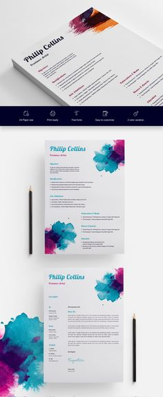 Freelance Artist CV/Resume Template - Get PSD & Sketch Resume Templates Artist Cv, Artist Resume, How To Make Resume, Resume Help, Resume Design, Cv Design, Identity Design, Good Resume Examples, Resume Ideas