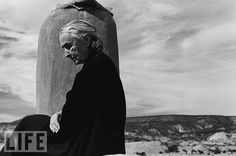 """Georgia O'Keeffe: Photo by John Loengard, 1966  LIFE's John Loengard famously photographed painter O'Keeffe -- """"the grand, solitary woman,"""" as the magazine called her -- in 1966, at her desert home the year she turned 80."""