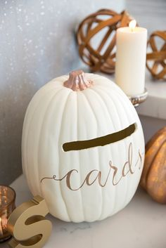 Learn how to turn a foam pumpkin into the most perfect fall wedding card box! Card Box Wedding, Diy Wedding, Wedding Favors, Wedding Ideas, Wedding Inspiration, Wedding Themes, Herb Wedding, Dream Wedding, Wedding Table
