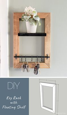 Diy key holder build a diy key holder with floating shelf to organize and decorate your entryway. Free plans and tutorial from bitterroot diy. Wooden Key Holder, Wall Key Holder, Diy Key Holder, Key Holders, Magnetic Key Holder, Mail And Key Holder, Mail Holder, Diy Home Decor, Room Decor