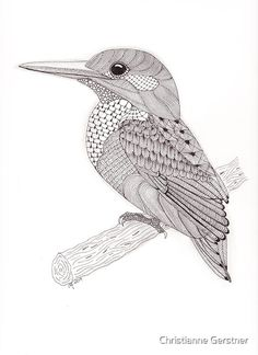 Choose your favorite zentangle drawings from millions of available designs. All zentangle drawings ship within 48 hours and include a money-back guarantee. Dibujos Zentangle Art, Zentangle Drawings, Bird Drawings, Animal Drawings, Zentangles, Kingfisher Tattoo, Kingfisher Bird, Tangle Patterns, Bird Patterns
