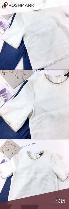 Ann Taylor White Tan Fringed Crew Neck Texture Top Brand new Ann Taylor one of a kind sample item. Crew neck top with Fringed hem and tan outline. This top has a gentle canvas like texture. Size 8 with zipper closure and some stretch. Please see all photos. Ann Taylor Tops
