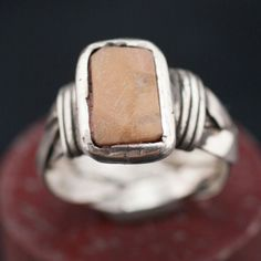 Silver Ring with ancient Roman murble.