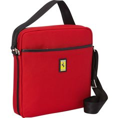 Ferrari Luxury Collection Utility Cross Body Small Shoulder Bag ($166) ❤ liked on Polyvore featuring bags, messenger bags, red, crossbody shoulder bags, cross body shoulder bag, laptop messenger bag, courier bag and cross body