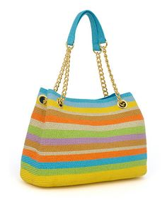 Beach/Pool bag!! || Love this Blue & Green Stripe Straw Chain Tote on #zulily! #zulilyfinds