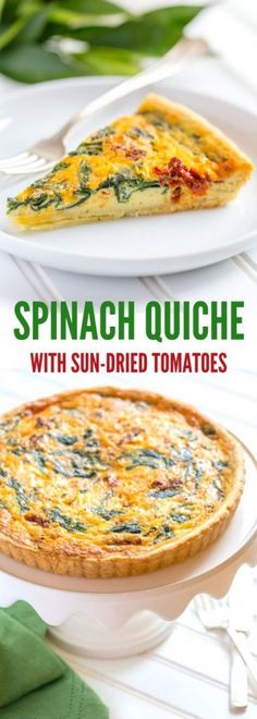 Spinach Quiche with Sun-Dried Tomatoes served on a white cake stand.