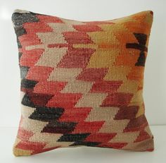 Sukan / SOFT Hand Woven - Turkish Kilim Pillow Cover - 16x16 [Etsy]