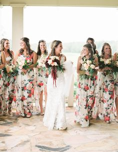 The Most Stunning Summer Bridesmaid Dresses Of 2018: Bridesmaid dresses covered in florals are the perfect option for a summer bride!