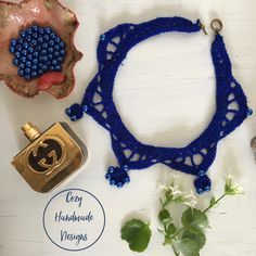 blue bib style necklace with beads Hand Stitching, Crochet Necklace, Delicate, Beads, Detail, Knitting, Handmade, Blue, Style