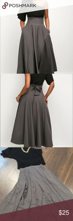 """NWOT One shoulder top and high waist belted skirt NWOT *black one sleeve blouse  *flowy grey maxi skirt with pockets and a slit on the side  * waist 28"""" *length 38"""" - Maxi skirt *slit 24"""" *bust 34"""" *Material - cotton blend *Pattern type - solid Necklace not included Dresses One Shoulder"""