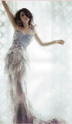 Beautiful iridescent pastel petal gown, just amazing!!