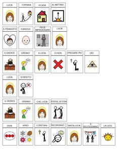 comuniCAAzione: La storia di santa Lucia Santa Lucia, Learning Italian, Symbols, Cards, Autism, Learn Italian Language, Icons, Map, Playing Cards