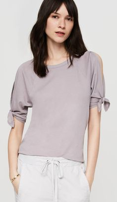 Lou & Grey Softserve Cotton Tie Sleeve Tee