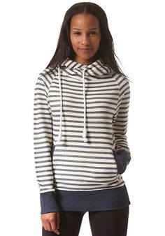 Young #woman in a #striped #hoodie.