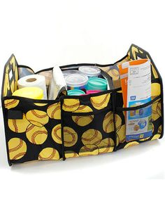 Free SHIPPING Baseball Print Insulated Car/Trunk Organizer Utility Tote Free MONOGRAMMING