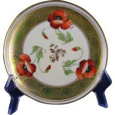 """Haviland Limoges Pickard Studios """"Poppy Iridescent"""" Design Plate (Signed """"Fuchs"""" for John Fuchs/c.1905-1910)"""