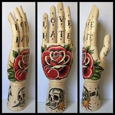 Wooden hand Rose / Skull & dagger / Spiderweb / door Inkspirednl