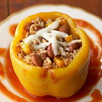 BHG's Newest Recipes:Chili Bean-Stuffed Peppers Recipe