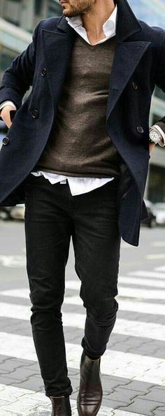 Men's simple style. Layering with pea coat.