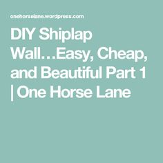 DIY Shiplap Wall…Easy, Cheap, and Beautiful Part 1 | One Horse Lane