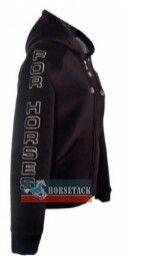 For Horses - moderne schicke Bekleidung für Western- und Freizeitreiter    - Modell Fly  - Thermopile Hooded Jacket  - Atmungsaktiv und gefüttert.   - Fleece innen  - 2 seitliche Einschubtaschen  - Strickbündchen   - Mit For Horses Logo auf dem rechten Ärmel  - Optischer-Woll-Look außen
