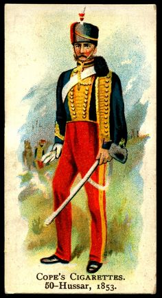 "https://flic.kr/p/dtNyzN | Cigarette Card - Hussar, 1853 | Cope's Cigarettes ""British Warriors""  (series of 50 issued in 1912) #50 Hussar, 1853"