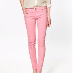 Pastel pink pants and beige blouse!  looks way awesome!