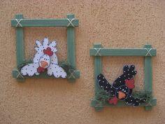 Wood frames with chickens Craft Stick Crafts, Diy And Crafts, Crafts For Kids, Arts And Crafts, Chicken Crafts, Chicken Art, Jar Art, Chickens And Roosters, Wooden Bird