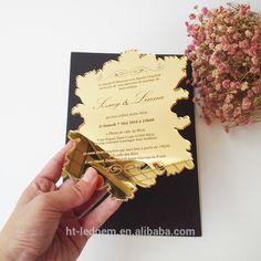 100pcs per lot golden mirror acrylic 5*7inch elegant laser cut acrylic wedding invitation