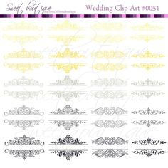 Gray &Yellow wedding Vintage Calligraphy Clip Art Clipart DIYInvitation Designs Scrapbook Embellishment Text Dividers Digital Frame 0051 My etsy shop sweetboutique.etsy.com