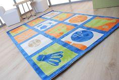Παιδικά χαλιά Royal Kids - Royal Carpet. Μπλε - λαχανί - πορτοκαλί μπάλες