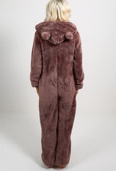 This super comfy onesie is perfect for the cold weather! Featuring ears to the hood and made from a soft cosy fleece, this is a must have! Fashion Books, All Fashion, Everyday Fashion, Pink Boutique Uk, Cheap Trendy Clothes, Pajamas Women, Stay Warm, Costumes For Women, Lounge Wear