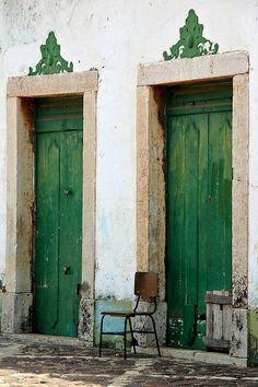 Green doors in Alcantara, Brazil (near Sao Luis - Maranhao) Cool Doors, The Doors, Unique Doors, Windows And Doors, Entry Doors, Door Knockers, Door Knobs, When One Door Closes, Closed Doors