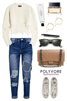 """""""Yeezy"""" by thestyleartisan ❤ liked on Polyvore featuring Boohoo, adidas Originals, Ray-Ban, Chanel, Stella & Dot, Frédéric Malle, Givenchy, Bobbi Brown Cosmetics and distresseddenim"""