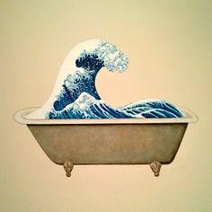 Hokusai wave in a bathtub. Artwork by Ji Dachun