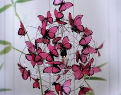 Rainbow Butterfly Chandelier - Whimsical Lighting Shadow lamp multicolor butterflies shadow lamp for kids gift idea for girl children Rainbow Butterfly, Butterfly Flowers, Beautiful Butterflies, Pink Lamp, Ceiling Rose, Plastic Waste, Hanging Art, Light Colors, Pretty In Pink