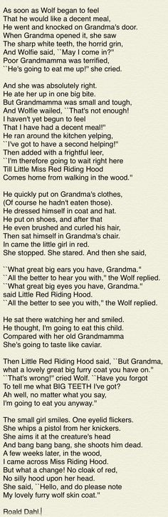 Little Red Riding Hood and the Wolf (Roald Dahl - 'Revolting Rhymes')