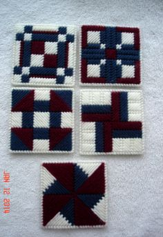 Country Quilt Block Coaster Set in Plastic Canvas by LesleesCrafts, $10.00