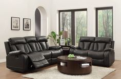 Modern Black Leather Reclining Sofa Couch Loveseat Motion Living Room